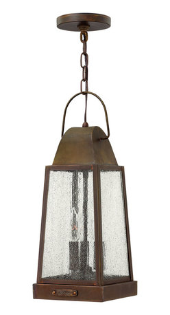 Hinkley Lighting - Sedgwick Hanger Outdoor - Sedgwicks all brass construction symbolizes the best of vintage Hinkley quality and style. This traditional tapered rectangular lantern features a charming hinged door with sliding latch for authentic appeal. The classic Sienna finish combines beautifully with generous panels of clear seedy glass and embodies the essence of historic New England architecture and sophistication.