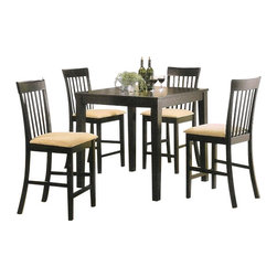 "Acme - 5-Piece Espresso Finish Wood Counter Height Small Dining Table Set - 5-Piece espresso finish wood counter height small dining table set, This seat features an espresso finish wood frame and a padded seat top on the stools. Table measures 36"" x 36"" x 36"" H, stools measures 24"" H at the seat. This set only comes in a 5-Piece pack, Some assembly required."