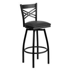 Flash Furniture - Flash Furniture Hercules Series Black Back Swivel Metal Barstool - Vinyl Seat - This stylish Swivel bar stool will compliment any Home, Restaurant, Lounge or Bar. The 360 degree swivel seat allows you to swing around effortlessly. The comfortably padded seat will keep you and your guests comfortable and is easy to clean. The heavy duty frame makes this stool perfect for commercial or home usage. This attractive stool will add to your casual or elegant setting. [XU-6F8B-XSWVL-BLKV-GG]