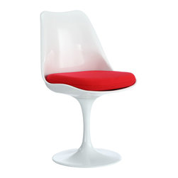 Eero Saarinen Style Tulip Side Chair with Red Cushion - The Eero Saarinen Style Tulip Chair adds the perfect modern classic touch to any dinning space. Sturdy, easy to clean and lovely to behold, these chairs elevate a meal to whole new levels of enjoyment. Available in an array of colors, the tulip chair makes it easy to express your individual style.