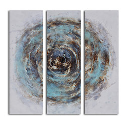 Marble blue chasm Hand Painted 3 Piece Canvas Set - Open to interpretation. Add a little moody blues to your space with this modern piece of art rendered in soothing hues. It's painted by hand for one-of-a-kind character.