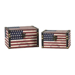 """Household Essentials - American Flag Design Box Set/Medium And Small - Decorative storage boxes are the fun and pretty answer to cluttered shelves dressers and tables! This set comes with 1 small and 1 medium box featuring Stars and Stripes superimposed on an aged historical map for a time-worn feel.   Details:Set of two: small and mediumMade of sturdy composite.  Finished with shimmer decoupage.Faux leather and brass accents.Polypropylene liner you can wipe it clean with a damp cloth.Attached lid.Front closure secures lid. Color: Antique Red white and blue Dimensions:Medium - 1.9lbs.4.72""""h x 7.87""""w x 6.3""""d12cm x 20cm x 16cm Interior4.375""""h x 7.125""""w x 5.125""""d11.1cm x 18.1cm x 13cm  Small - 1.4lbs.4.13""""h x 6.7""""w x 5.12""""d10.5cm x 17cm x 13cm Interior3.5""""h x 6""""w x 4""""d8.9cm x 15.2cm x 10.2cm"""