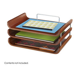 Safco - Bamboo Triple Tray - Cherry - Make a chic move to controlling paper clutter. The Bamboo Triple Tray is designed for keeping papers, notebooks and other documents organized. Use the trays to keep materials from different projects separated, or organize files according to due dates. No matter the system, it's sure to help keep any workspace organized in style. Some assembly required.