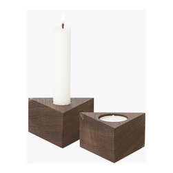 Smoked Oak Reversible Three-Pointed Candle Holder - One side up and this 1950s-inspired three-pointed smoked oak wood candle holder will hold a graceful taper. But turned upside down, it'll hold a tea light instead. Functional, minimalist, and elegant to the eye, this pretty home accent will add some natural beauty to the lighting of your room.