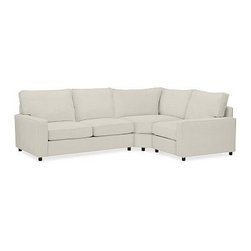 "PB Comfort Square Arm Upholstered Right Arm 3-Piece Wedge Sectional, Down-Blend - Sink into this comfort sectional just once, and you'll know how it got its name. With extra-deep seats and a wedge that maximizes legroom at the corner, this eco-friendly collection provides roomy comfort for the whole family. 114.5"" w x 84.5"" d x 42"" d x 39"" h {{link path='pages/popups/PB-FG-Comfort-Square-Arm-4.html' class='popup' width='720' height='800'}}View the dimension diagram for more information{{/link}}. {{link path='pages/popups/PB-FG-Comfort-Square-Arm-6.html' class='popup' width='720' height='800'}}The fit & measuring guide should be read prior to placing your order{{/link}}. Choose polyester wrapped cushions for a tailored and neat look, or down-blend for a casual and relaxed look. Choice of knife-edged or box-style back cushions. Proudly made in America, {{link path='/stylehouse/videos/videos/pbq_v36_rel.html?cm_sp=Video_PIP-_-PBQUALITY-_-SUTTER_STREET' class='popup' width='950' height='300'}}view video{{/link}}. For shipping and return information, click on the shipping tab. When making your selection, see the Quick Ship and Special Order fabrics below. {{link path='pages/popups/PB-FG-Comfort-Square-Arm-7.html' class='popup' width='720' height='800'}} Additional fabrics not shown below can be seen here{{/link}}. Please call 1.888.779.5176 to place your order for these additional fabrics."