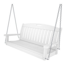 Polywood - 51.75 in. Eco-friendly Swing in White - The Nautical Collection offers many different chair styles along with tables in both traditional and taller heights. Whether you're reading the morning paper or relaxing after a long day, you'll enjoy your time so much more when accompanied by the soothing motion of the Polywood Nautical 48 in. swing. Few features of this swing that ensure it will be a welcome part of your outdoor living space for a long time.