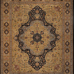 "ALRUG - Handmade Black Persian Kirman Rug 8' 2"" x 10' 3"" (ft) - This Pakistani Kirman design rug is hand-knotted with Wool on Cotton."