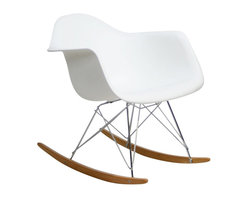 "Modway - Rocker Rocking Chair in White - Not Grandma's rocking chair, this mid-century retro modern rocker, has the avant garde style of today that adds pizzazz to your room. Still a comfortable seat for lulling children to sleep or moving in time to music, this rocking chair is the symbol of the modern home. Includes: One - Molded Plastic Rocking Chair; Steel Base; ABS Plastic Seat; Solid Wood Rocker Bottoms; Dimensions: 27""L x 24""W x 26""H; Seat: 17""L x 16""W x 16""H; Armrest Height: 23""H"