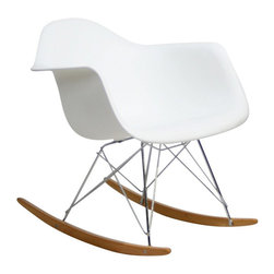 """Modway - Rocker Rocking Chair in White - Not Grandma's rocking chair, this mid-century retro modern rocker, has the avant garde style of today that adds pizzazz to your room. Still a comfortable seat for lulling children to sleep or moving in time to music, this rocking chair is the symbol of the modern home. Includes: One - Molded Plastic Rocking Chair; Steel Base; ABS Plastic Seat; Solid Wood Rocker Bottoms; Dimensions: 27""""L x 24""""W x 26""""H; Seat: 17""""L x 16""""W x 16""""H; Armrest Height: 23""""H"""