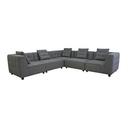 Wholesale Interiors - Alcoa Gray Fabric Modular Modern Sectional Sofa - Easily tackle the challenge of a small space or unique area with the endless possibilities of a modular sectional. The Alcoa Sectional consists of 5 separate pieces that can be rearranged to create the sectional of your dreams. This beautiful modern design is made with a durable solid wood frame, foam cushioning, and slate gray twill upholstery. Completing your new look are black cylindrical wood legs with felt pads as well as matching slate grey twill throw pillows with removable covers (1 pillow per section). Note: the main upholstery is fully sewn and non-removable; the pieces are all freestanding and do not secure to one another.