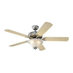 Montecarlo - Monte Carlo Homeowners Deluxe Ceiling Fan in Brushed Pewter - Monte Carlo Homeowners Deluxe Model 5HS52BPD in Brushed Pewter with Natural Maple Finished Blades. White Faux Alabaster Light Fixture included with Homeowners Deluxe Fans.