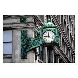 Custom Photo Factory - Clock on Building Exterior Canvas Wall Art - Clock on Building Exterior  Size: 20 Inches x 30 Inches . Ready to Hang on 1.5 Inch Thick Wooden Frame. 30 Day Money Back Guarantee. Made in America-Los Angeles, CA. High Quality, Archival Museum Grade Canvas. Will last 150 Plus Years Without Fading. High quality canvas art print using archival inks and museum grade canvas. Archival quality canvas print will last over 150 years without fading. Canvas reproduction comes in different sizes. Gallery-wrapped style: the entire print is wrapped around 1.5 inch thick wooden frame. We use the highest quality pine wood available. By purchasing this canvas art photo, you agree it's for personal use only and it's not for republication, re-transmission, reproduction or other use.
