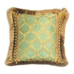 "Canaan - Elegance Aqua Embroidery Floral Leaf Diamond Pattern Print 20"" 20"" Throw Pillow - Elegance aqua embroidery floral leaf diamond pattern print 20"" x 20"" throw pillow with brush fringe and berry tassel trim. Measures 20"" x 20"" made with a blown in foam. These are custom made in the U.S.A and take 4-6 weeks lead time for production."
