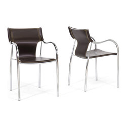 "Wholesale Interiors - Harris Brown Modern Dining Chairs, Set of 2 - This clever, contemporary dining chair gives off sparks around any dining table, resulting in beautiful, modern dining room decor. Each chair is made with a durable steel frame featuring a high-shine chrome finish and black non-marking feet. The seat itself is constructed with thick faux bonded leather in brown with yellow-stitched edges. The Harris Dining Chair is made in China, is fully assembled, and is a stackable dining chair. To clean, wipe with a damp cloth. This style is also available in black or ivory (each sold separately). Chair Dimension: 20.25""W x 20.5""D x 31.5""H. Seat Dimension: 18""W x 17""D x 18""H with 25.5"" arm height."