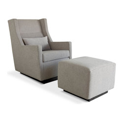 Gus - Sparrow Glider and Ottoman - The Sparrow Glider is a clean-lined chair designed for the modern nursery. The Sparrow features a smooth, quiet rocking motion, and ergonomic proportions for comfortable neck support and arm position.