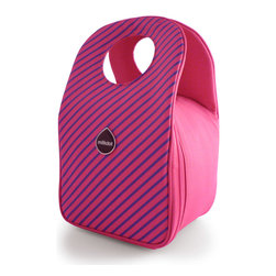 Milkdot - Stöh Lunch Tote, Raspberry Stripes - Stöh is a modern yet practical solution for a lunch bag that combines clean and simple design with features perfect for stowing your favorite food, drink and utensils and cool enough for the whole family to carry too. Sleek and timeless, Stöh is for all-ages. Lightweight and folds flat for easy storage after use.