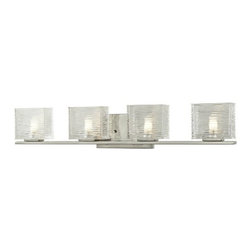 Z-Lite - Z-Lite 3024-4V Jaol 4 Light ADA Compliant Bathroom Vanity Light - Rectangular glass shades with horizontal textured lines soften the bright light of the Jaol vanity family. The flat arm design exudes a contemporary design finished in finely brushed nickel, rich bronze and highly polished chrome.Specifications:
