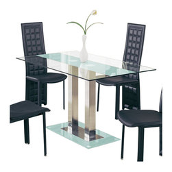 Global Furniture USA - Global Furniture USA Jord Glass Dining Table in Frosted Stripe - Global Furniture USA - Dining Tables - D2108NDTFS - This clear glass dining table with frosted stripe features chrome trim accents and painted top and bottom glass. Will make a perfect addition to your contemporary space. Features: