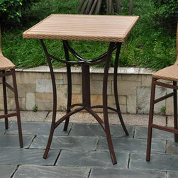 International Caravan - 3-Pc Bar Height Bistro Patio Set - Includes two wicker resin patio chairs and one wicker patio table. Elegant and beautiful. Designed with rust free aluminum frame against rain and harsh weather. All weather resistant and UV light fading protective coating. Honey finish. Assembly required. Chair: 20 in. W x 20 in. D x 45 in. H (10 lbs.). Table: 32 in. W x 32 in. D x 42 in. H (33 lbs.)