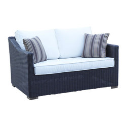 Wicker Paradise - Patio Wicker Outdoor Loveseat Portofino - Black Forest - A cozy cuddle outdoor wicker luxurious loveseat! Pair with throw pillows in a striking fabric for a most complete look.
