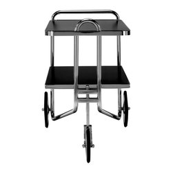 Matrix Internnational - Breuer Cart, Black Lacquer - The prototype for Breuer's serving cart first appeared with spoked wheels in the Thonet catalog of 1930-31. The production version with chrome disc wheels was later shown at the Salon des Artistes Decorateurs in 1931. The shelves are available in plastic laminate, lacquer, ash, or cherry with a chrome-plated flat bar steel border. The frame is constructed of chrome-plated tubular steel. The wheels are chrome-plated brass with rubber tires. Right now this is a special order from Italy but soon we will start keeping limited stock for immediate delivery.