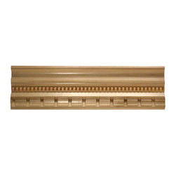 """Inviting Home - Hyannis dentil crown molding - Dentil wood crown molding 4""""H x 3-3/8""""P x 5-1/8""""F x 8'00""""L sold in 8 foot length (3 piece minimum required) Outstanding quality embossed crown molding profile milled from high grade kiln dried solid poplar hardwood. Decorative ornamental design crafted embossed under intense heat and pressure. Wood molding is sold unfinished and can be easily stained painted or glazed. The installation of the wood molding should be treated the same manner as you would treat any wood molding: all molding should be kept in a clean and dry environment away from excessive moisture. Acclimate wooden moldings for 5-7 days. When installing wood moldings it is recommended to nail molding securely to studs and glue all mitered corners for maximum support."""