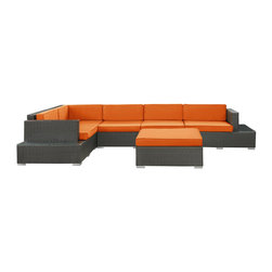 Modway Furniture - Modway Harbor 6 Piece Sectional Set in Espresso Orange - 6 Piece Sectional Set in Espresso Orange belongs to Harbor Collection by Modway Immerse yourself in the depth of new surroundings as you become acquainted with the art of making socially innovative gatherings. Catch the perfect angle for boundless views of reality with this easily reconfigured outdoor set. Expand horizons and open new vistas as hidden opportunities rise to the surface. Set Includes: One - Secret Harbour Outdoor Wicker Patio Coffee Table One - Secret Harbour Outdoor Wicker Patio Coffee Table Cushion One - Secret Harbour Outdoor Wicker Patio Corner Section One - Secret Harbour Outdoor Wicker Patio Left Arm Section One - Secret Harbour Outdoor Wicker Patio Right Arm Section Two - Secret Harbour Outdoor Wicker Patio Armless Sections Coffee Table (1) , Coffee Table Cushion (1), Corner Section (1), Left Arm Section (1), Right Arm Section (1), Armless Sections (2)
