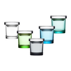 """iittala - iittala Glass Jars - 3"""" Skinny - A perfect example of better living through better design, high-quality glass jars from Pentagon Designs provide storage solutions while adding a subtle decorative touch to your space. A wide range of sizes provide the perfect place for objects large and small, and a full spectrum of serene colors enhance the essence of whatever is put inside each jar. Manufactured by iittala.  Designed in 2005."""