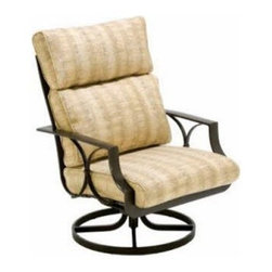 Winston Exeter Cushion Ultra Swivel Tilt Lounge Chair - Those fold-up tail-gate chairs can stay in your friend's trunk where they belong because you're going to enjoy the best parts of this season from the deep comfort of the Winston Exeter Cushion Ultra Swivel Tilt Lounge Chair. The corrosion-resistant frame is crafted from a combination of extruded and cast aluminum, which is a fancy way to say that it's light, strong and won't crumble if you leave it outdoors for a night or for a year. The thick cushions are covered in outdoor fabrics in your choice of appealing colors and styles. A smooth-swiveling hinge and heavy-duty rocking mechanism add some relaxing movement to the already comfortable style. Put the myriad of fabric options together with a range of frame finishes and you're going to need a nap after you figure out which combination is right for you. Thankfully, you'll have a really great place to sit when the process is over.About Winston Furniture CompanyStarted in 1975, Winston Furniture Company manufactured simple aluminum furniture with virgin vinyl straps. As the popularity of casual furniture increased and consumers craved comfort, Winston answered the call by being the first company to introduce cushioned, mildew-resistant fabrics for outdoor use. In 1982, Winston was once again at the forefront by adding stylish, easy-to-maintain sling furniture to its product line.Today, the Winston Furniture line is comprised of cushion and sling furniture with a host of styles. A variety of powder-coated paint finishes and sling colors, along with over a hundred fabric selections allow you to create just the look you need. All Winston Furniture product materials are proudly sourced in the U.S.A. Welding is completed in a state-of-the-art manufacturing facility in Juarez, Mexico. Products are shipped to El Paso, Texas for finishing and final inspection before being shipped to your door.Winston Furniture Company, Inc. has earned several design and service awards fr