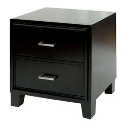 Furniture of America - Furniture of America 'Elrich' Two-drawer Espresso Wood Night Stand - Increase your style with this espresso wood night stand featuring two large drawers. The contemporary lines on this Elrich nightstand will add a stunning appeal to your space. A solid wood construction ensures durability and quality.
