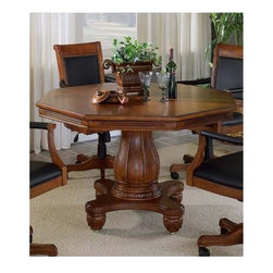 Hillsdale Furniture - Kingston 2-in-1 Pedestal Poker Dining Table - Flip the top and instantly create a dining room table to be enjoyed by all. The Kingston game table is a warm invitation to have fun. A dining room table/game table combo with a stunning, curved, column-like base, this table is perfect for gatherings and gaming. Chip and cup holders add to the practicality of the table and the gaming top offers a black centered playing surface. Massive four-pronged base and turbine-styled central column leave no doubt as to the fine craftsmanship. * For residential use. Chairs not included. 2-in-1 poker and dining table. Converts directly into a dining table with the quick flip of the solid Oak top. Game table felt on one side, Solid Oak finished in Cherry on the other. Pedestal base with balled feet. Built-in poker chip and drink holders. Light Cherry finish. 56.25 in. L x 56.25 in. W x 32.75 in. H