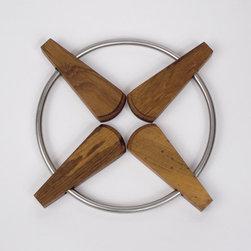 Teak Trivet - Classic car hubcap meets fondu party meets my new favorite trivet. Metal mixed with wood, you complete me.