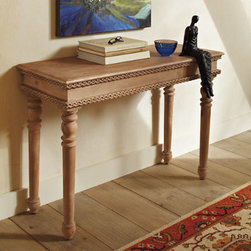 Grandin Road - Willa Console - Artisan-made Italianate table with hand-carved trim on the apron. Gently tapered, turned legs. A barely-there, natural finish showcases the grain. Simple assembly. Take a break from highly polished wood with our artisan-crafted Willa Console. The rich character of this table rewards those who look closely. Hand-carved details on the full circumference of the apron complement its rustic look. Pairing it with shiny decor creates a sophisticated study in texture.  .  .  .  .