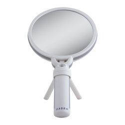 Zadro - Zadro Dual Led Lighted 10X/1X Swivel Hand Mirror-Fh10L - The Dual Magnification Lighted Hand Mirror offers a sleek design with a special rotatable mirror head.  It features two dual LED lighted, optical quality mirrors (10X and 1x) with a rotatable mirror head. This mirror includes a detachable vanity stand for hands free application, making it easier to apply make-up or insert contact lenses.