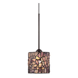 """Robert Louis Tiffany - Tiffany Cobblestone Mosaic 7"""" Wide Tiffany Style Mini Pendant - This mini pendant light is full of warmth. Tiffany style glass creates a beautiful mosaic look with rustic flair. A bronze finish completes the look. Bronze finish. Tiffany style glass. Maximum 60 watt bulb (not included). Includes 10 feet of cord. 7"""" wide. 20 1/2"""" high with the rod. Glass is 7"""" wide and 7"""" high. Canopy is 5"""" wide. Hang weight is 5 lbs.  Bronze finish.  Tiffany style glass.  Maximum 60 watt bulb (not included).  Includes 10 feet of cord.   Glass is 7"""" wide and 7"""" high.   7"""" wide.   20 1/2"""" high with the rod.  Canopy is 5"""" wide.   Hang weight is 5 lbs."""