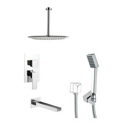 Remer - Modern Square Polished Chrome Shower System - Single function tub and shower faucet.