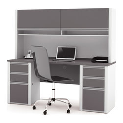 Bestar - Bestar Connexion Slate & Sandstone 71 x 23 Rectangular Workstation Desk - The desk is made of durable 1 inch commercial grade work surface with melamine finish that resist scratches stains and wears. It features an impact resistant 0.25 cm PVC edge. Grommets and a rubber strip are available on the station for efficient wire management. The credenza and the hutch meet or exceed ANSI/BIFMA performance standards. The hutch for credenza offers two flip up doors large closed storage space efficient wire management and two large paper shelves. The doors are fitted with strong lift up hardware. The pedestals offer two utility drawers and one file drawer with letter/legal filing system. One lock secures bottom two drawers. The drawers are on ball-bearing slides and the keyboard drawer features double-extension slides for a smooth and quiet operation. Also available in Bordeaux and Slate finish. Connexion is a contemporary and durable collection that features a wide variety of configuration options that will adapt to your specific needs.Nowadays performance productivity and quality of life are fundamental to achieving our personal and professional goals. Bestar's home and office furniture design is based upon these criteria as well as on today's reality. On average we spend about 40 hours a week at work (home or office) which represents a large portion of our time. Various factors have a direct impact on our well-being at work: an important concern in the current employment environment continually changing and at an ever-increasing pace. Therefore organizing your space is certainly a parameter to consider. Features include Strong and large work surface Plenty of room to organize your documents Storage space for your documents and personal items. Specifications Finish/color: Slate & Sandstone.