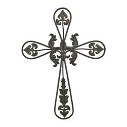 Decorative Metal Wall Cross with Fleur de Lis Accent 23 1/4 In. - This decorative metal wall cross adds a wonderful accent to any room in your home, and complements most any decor theme. It measures 23 1/4 inches tall, 16 3/4 inches wide, 1/4 inch deep, features a fleur de lis accent in the center, and has a beautiful antiqued finish. It easily mounts to the wall with a single nail or screw by the hanger on the back, and is suitable for indoor or outdoor use.