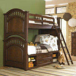 Samuel Lawrence Furniture - Expedition Twin over Twin Bunk Bed - Cherry - HOMM340 - Shop for Bunk Beds from Hayneedle.com! Sharing a room is always a safari unto itself - luckily they ve got the Expedition Twin over Twin Bunk Bed - Cherry. Ideal for little explorers this solid hardwood bed is finished in a rich cherry that pairs perfectly with the arched slatted headboards and footboards. An included ladder and top-bunk guard rails make for safe snoozing and the bunk bed comes complete with slat kits - no box springs or bunkie boards are required.Best of all you ve got a full range of storage options to choose from. Great for aiding younger sleepers to the top bunk the staircase option features three built-in drawers and a display shelf. Or you can opt for the under-bed storage unit which includes two center drawers flanked by two open cubbies with one shelf each. Or if your little ones love a sleepover consider the roll-out trundle which accommodates a twin-size mattress. Maximum trundle weight is 175 pounds.Dimensions:Overall: NO DIMS LISTEDStorage unit: 76W x 20D x 20H inchesTrundle: 75L x 41W x 13H inchesAbout Samuel Lawrence Furniture:Constantly adapting to the changing needs of today's value-conscious families Samuel Lawrence Furniture brings you gorgeous furnishings at a competitive price. SLF designs and manufactures contemporary furniture for every room in your home ensuring that you can create a consistent style throughout your house. And SLF's dedication to value means that you can outfit your home without breaking the bank.