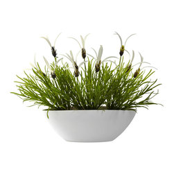 Nearly Natural - Nearly Natural Grass and White Floral w/ White Planter (Indoor/Outdoor) in White - Here's something you don't see every day. A pretty white bowl-shaped planter overflowing with (faux) Lavender Bush. The green blades provide a wispy base from which the white blooms emerge. It's a delicate combination that not only looks beautiful today, but will retain its lush beauty for years to come. Ideal for kitchens, foyers, dining tables, or anywhere else some sunshine is needed. Makes a great gift, too.