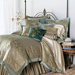 "Matouk - Matouk Callista Sheet, King - Discover a masterpiece with damask designs. Pale blue and golden silk Damask patterns. Damask comforter, 18""L. Striped dust skirt and matching shams and pillows, cotton and polyester. Pale blue linens, silk; spot clean. Callista sheeting,...."