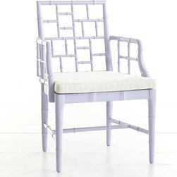 Chinese Chippendale Chair, English Lilac - This faux-bamboo chair could so easily become your favorite spot. Inspired by the Chinese Chippendale style, the fretwork on the back and sides are breathtaking.