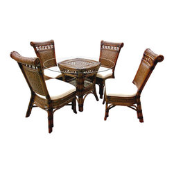 Capris - Montego Bay Tropical Rattan and Wicker 6 Pc. Dining Set - The Montego Bay collection is a beautiful and handsomely designed collection. Comes with very high quality all natural Rattan and Wicker weave. Dining set includes 4 side chairs, table base, and 42 Inch Round Glass top.