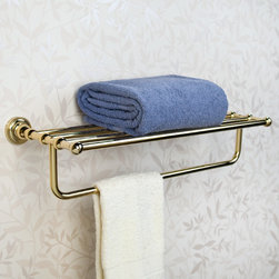 Farber Towel Rack - Perfect for adding extra storage space, this solid brass towel rack is also a stylish addition to any bath or powder room. Pair this towel rack with other items from the Farber Collection for a coordinated look.