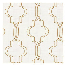 Tan Embroidered Morrocan Trellis Fabric - Classic Moroccan-inspired trellis embroidered in golden tan & pale vanilla on super soft lightweight cream linen blend.Recover your chair. Upholster a wall. Create a framed piece of art. Sew your own home accent. Whatever your decorating project, Loom's gorgeous, designer fabrics by the yard are up to the challenge!