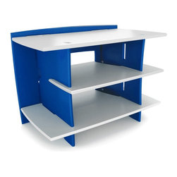 Legare Furniture - Legare 33 in. Race Car Gaming Station - Blue/White - STBC-105 - Shop for Childrens Entertainment Center from Hayneedle.com! An impressive gaming system needs an equally impressive place to stay! The Legare 33 in. Race Car Gaming Station Blue/White is a modern accessory for today s uber-modern toys. The vibrant blue and white enamel-finished station provides a side shelf for vertical gaming stations and a top surface large enough for a 30-inch CRT or a 37-inch Plasma or LCD television. It has two 8-inch high bays for audio/video equipment and two more side shelves for storing more than 60 DVDs or 85 CDs. Assembly is a snap with its quick tool-free construction that takes fewer than three minutes. Your child will be off to virtual reality in no time!About Legare FurnitureBased in Fort Worth Texas Legare Furniture is a design and manufacturing firm that produces contemporary unique and easy-to-assemble furniture for the home and small office. Founded in 1999 the company's designs are an evolution of Legare's original signature modular design continually improved with innovative materials and finishes to enhance the chic style and convenient functionality that marks Legare's furniture as distinct.