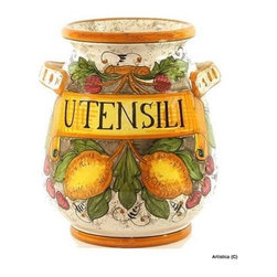 Artistica - Hand Made in Italy - Rustica: Utensil Holder - Rustica translated from Italian means rustic, which aptly describes the weathered-looking, mottled background and country colors of the Rustica line.