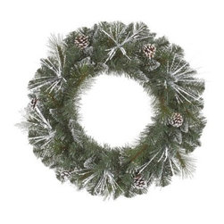 Vickerman Frost White Mix Tip Pre-Lit Wreath - Lightly dusted with snow and lit with 50 clear lights that accent the beauty of the pinecones peering out of it, the Vickerman Frost White Mix Tip Pre-Lit Wreath is perfect indoors or out. Available in your choice of size, this gorgeous wreath is the perfect finishing touch to your Christmas decor. About VickermanThis product is proudly made by Vickerman; a leader in high quality holiday decor. Founded in 1940; the Vickerman Company has established itself as an innovative company dedicated to exceeding the expectations of their customers. With a wide variety of remarkably realistic looking foliage; greenery and beautiful trees; Vickerman is a name you can trust for helping you create beloved holiday memories year after year.