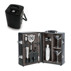 """Picnic Time - Tampa Bay Buccaneers Manhattan Portable Cocktail Case in Black - The Manhattan from Picnic Time's Legacy Collection is a portable cocktail case that has everything needed for your cocktail party on the go. Fully-insulated and made of premium leatherette, the Manhattan has a beautiful velveteen interior lining that helps to showcase all its amenities, including: 2 martini glasses (hand-blown glass, 7 oz.), 1 stainless steel (S/S) shaker (19 oz.), 1 S/S double-sided jigger (1oz./2 oz.), 1 S/S ice tongs, 1 S/S strainer, 2 S/S olive picks, 1 (Vermouth) mister (1 oz.), 1 combination fork/spoon stirrer, and 2 napkins (100% cotton, 14 x 14""""). The Manhattan features a divided, insulated compartment to carry two bottles, an adjustable leatherette shoulder strap and a suitcase-style handle for easy carrying. Why wait for the party, when you can bring the party with you?; Decoration: Engraved; Includes: 2 martini glasses (hand-blown glass, 7 oz.), 1 stainless steel (S/S) shaker (19 oz.), 1 S/S double-sided jigger (1oz./2 oz.), 1 S/S ice tongs, 1 S/S strainer, 2 S/S olive picks, 1 (Vermouth) mister (1 oz.), 1 combination fork/spoon stirrer, and 2 napkins (100% cotton, 14 x 14"""", Black and Silver pinstripe -OR- Blue and Gray Legacy Stripe)"""