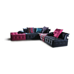 "VIG Furniture - VIG Furniture - Divani Casa Chloe - Modern Fabric Sectional Sofa -... - This Ultra Chic Fabric Sectional Sofa is inspired by an ultra modern European design. The low to the floor design uses vibrant shades of bright pink and black for a dazzling look. Reclining headrests for superior comfort. The sectional sofa uses shiny silk and nylon hybrid fabric, giving it a very relaxing feel and luxurious look. Pillows are included to match the colors and fabric of the sofa. Comfortably seating for six people, this is definitely a piece of furniture that will liven up any room.  Features:�Set includes Armless Chair, Corner and OttomanDivani Casa Chloe Collection�Sectional SofaWhite ColorShiny silk and nylon fabric compositionPillows includedLow to the floorUltra modern European inspired designModern StyleSome Assembly Required Dimensions:�Armless Chair: W37.5"" x D37.5"" x H28.5""Corner: W37.5"" x D37.5"" x H28.5""Ottoman: W37.5"" x D37.5"" x H28.5"""